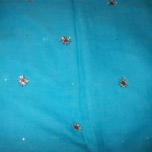 Rich Ocean Blue Cotton Silver Sewn Flowers